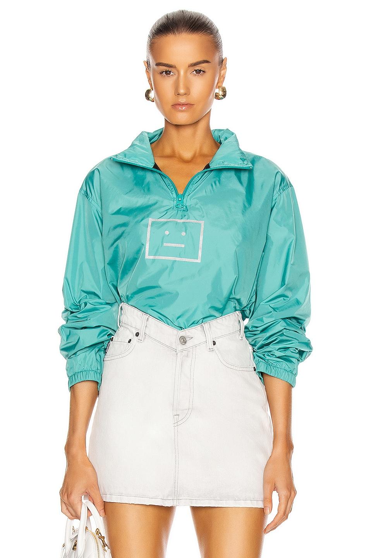 Image 1 of Acne Studios Omalley Face Half Zip Jacket in Jade Green