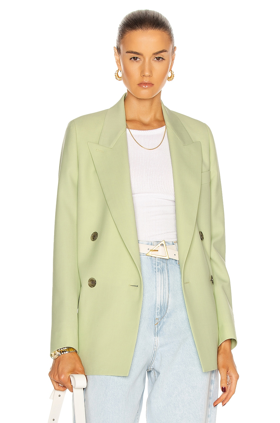Image 1 of Acne Studios Double Breasted Blazer in Lemon Yellow