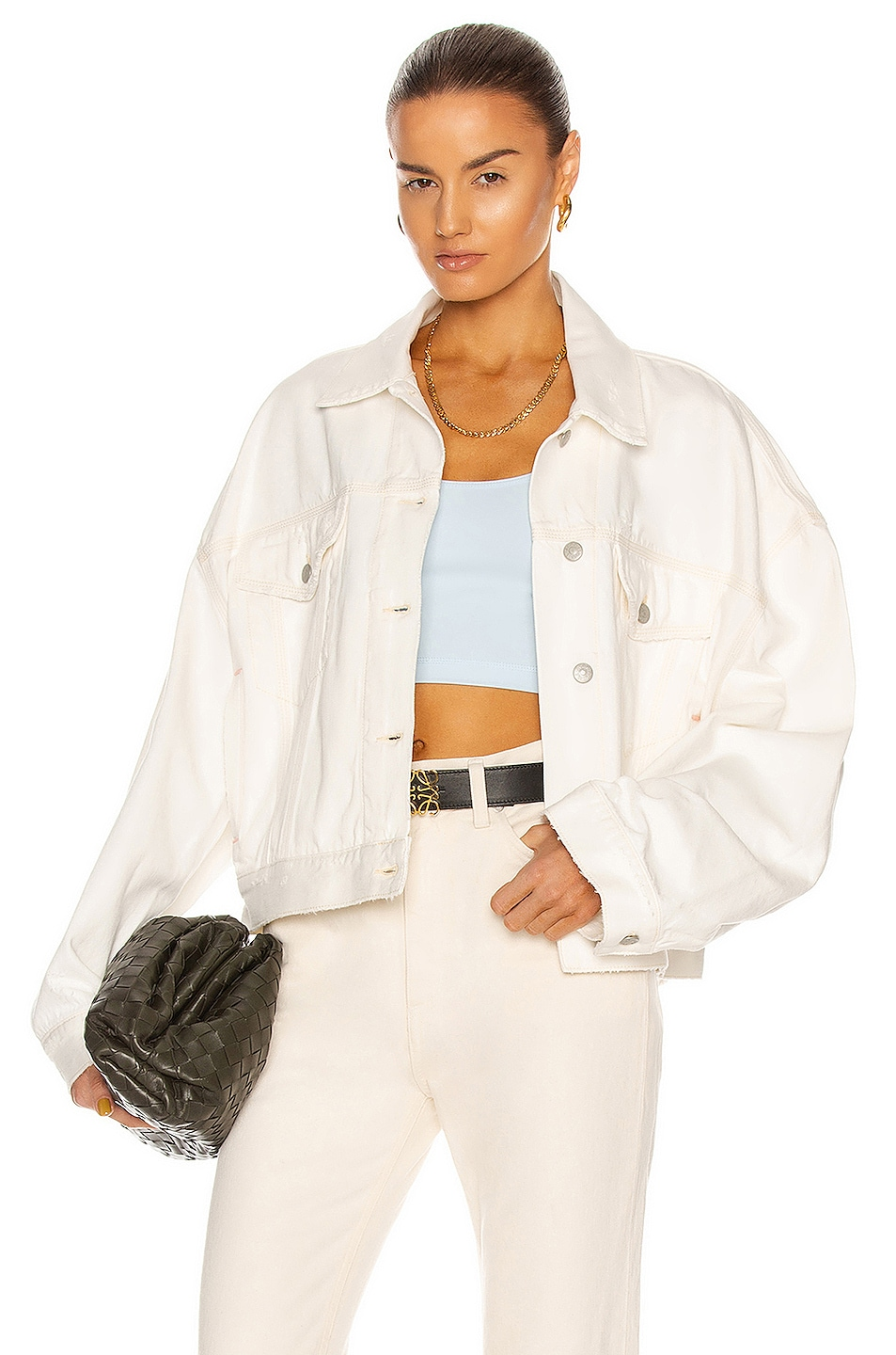 Image 1 of Acne Studios Cropped Denim Jacket in White