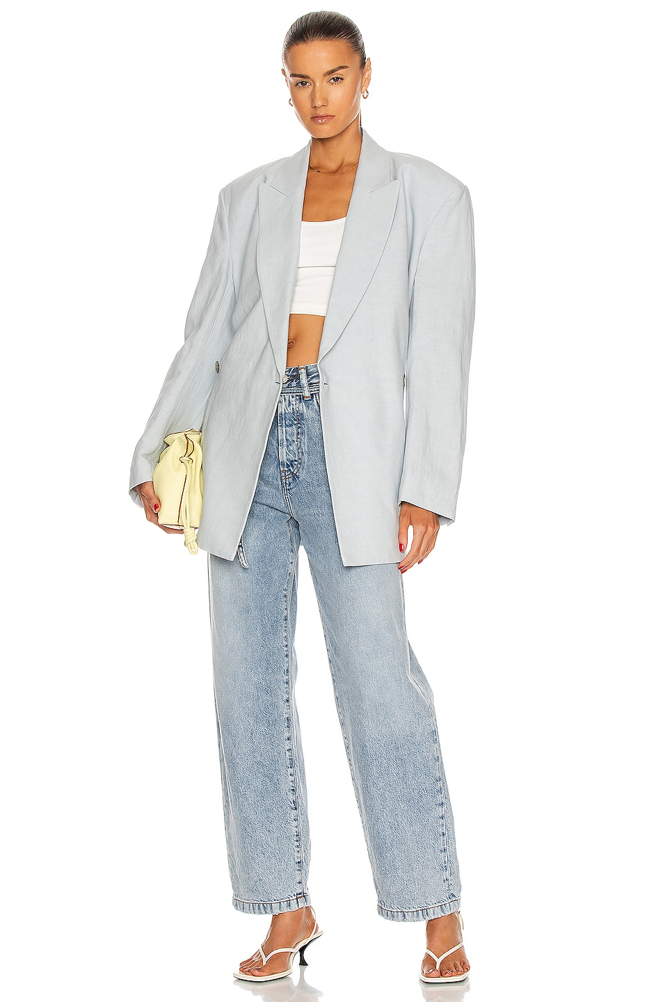 Image 1 of Acne Studios Belted Blazer in Ice Blue