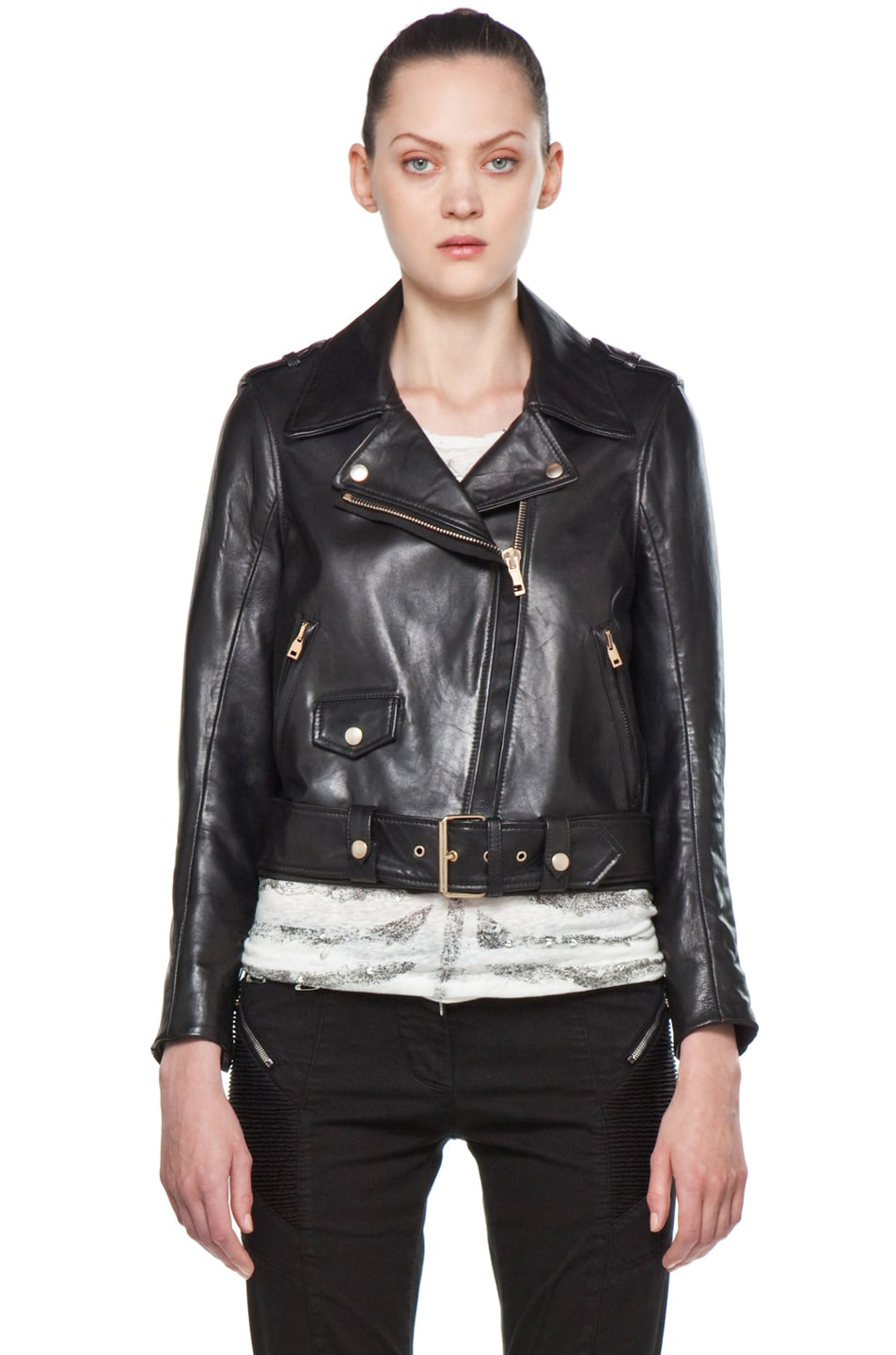 Leather jacket sale womens - Image 2 Of Acne Studios Leather Jacket In Black