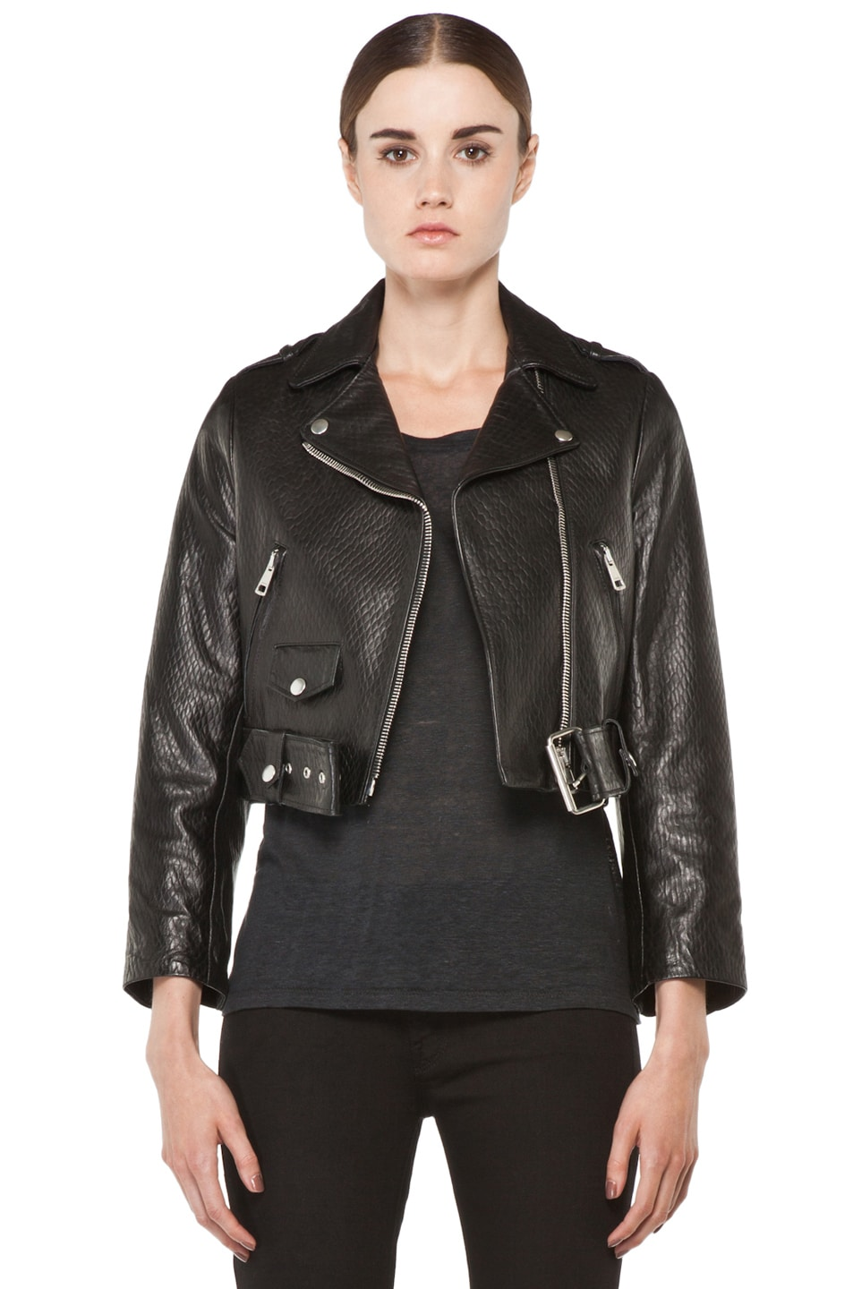 Acne Studios Väska : Acne studios mape leather jacket in black fwrd