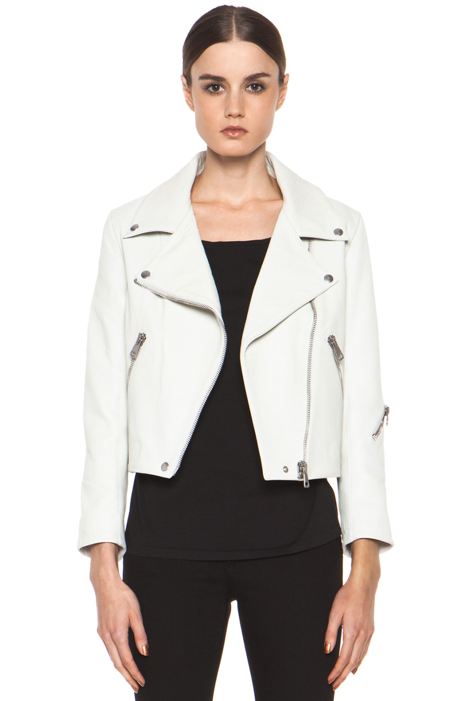 Image 1 of Acne Studios Rita Leather Jacket in White