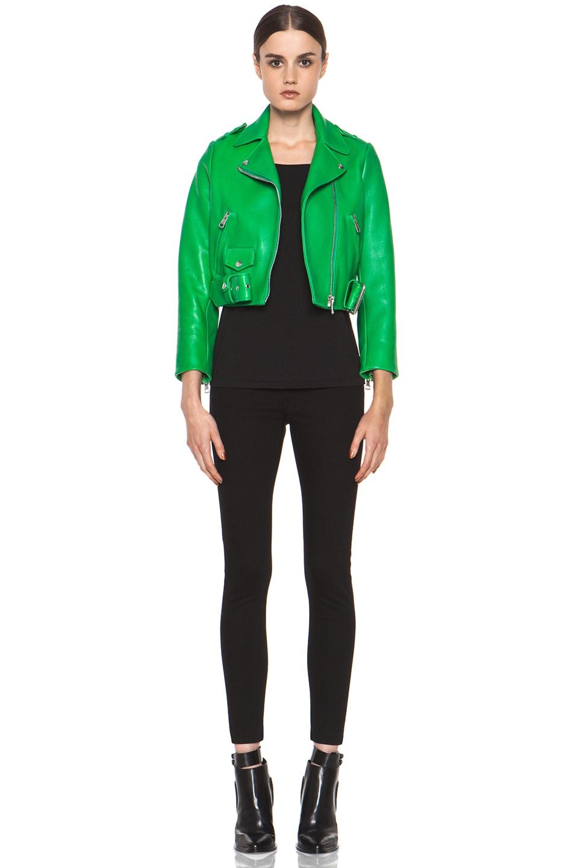 Acne Studios Mape Leather Jacket in Bright Green   FWRD