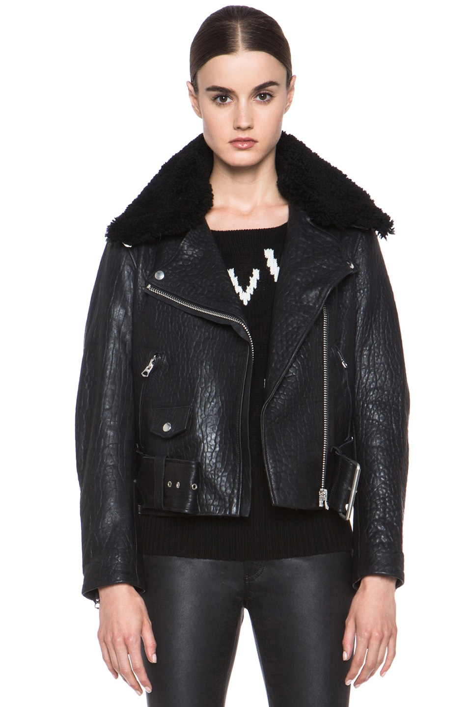 Image 1 of Acne Studios Mape Leather Jacket in Black Noir