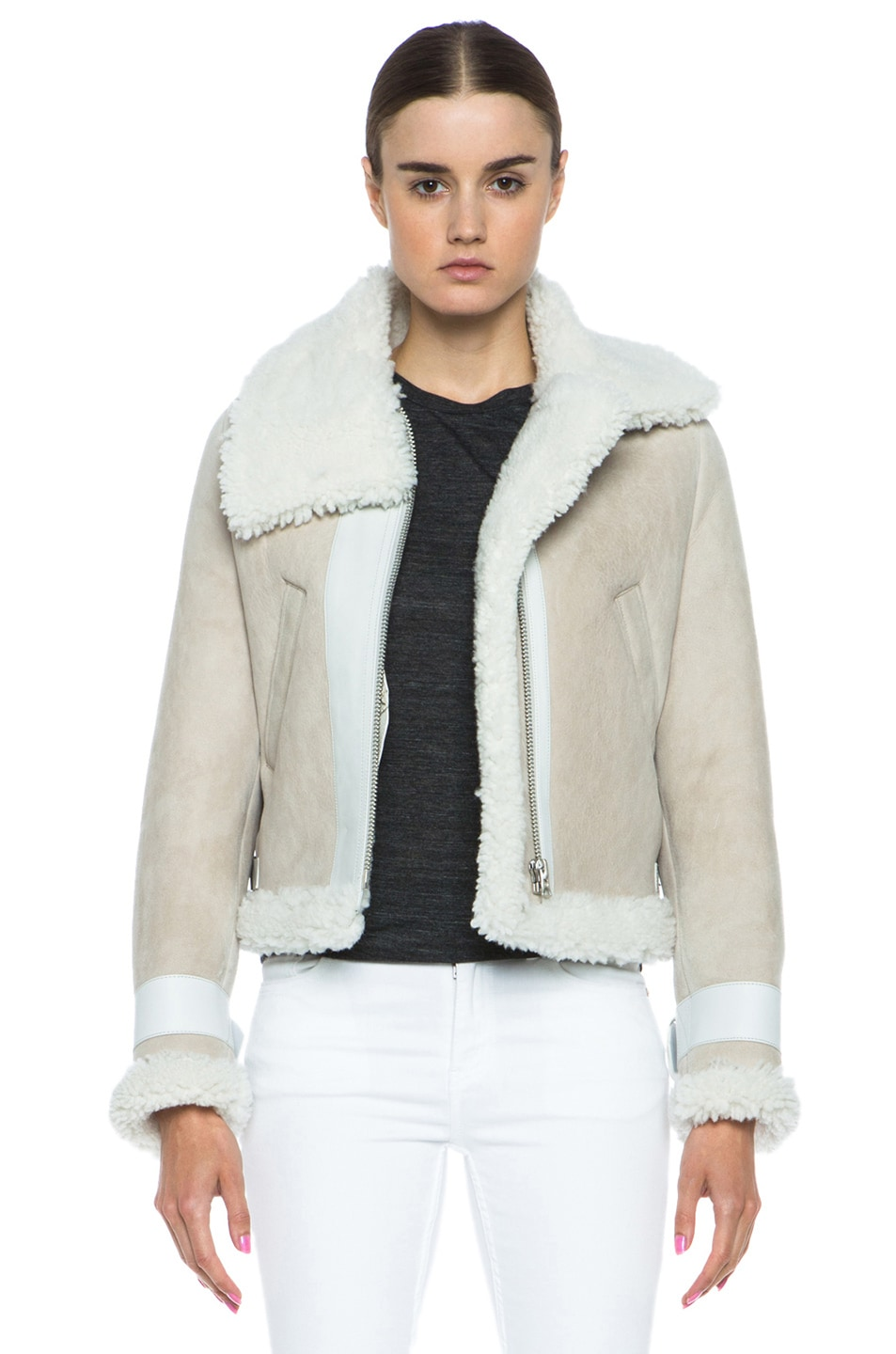 Image 1 of Acne Studios Vera Shearling Jacket in Natural White