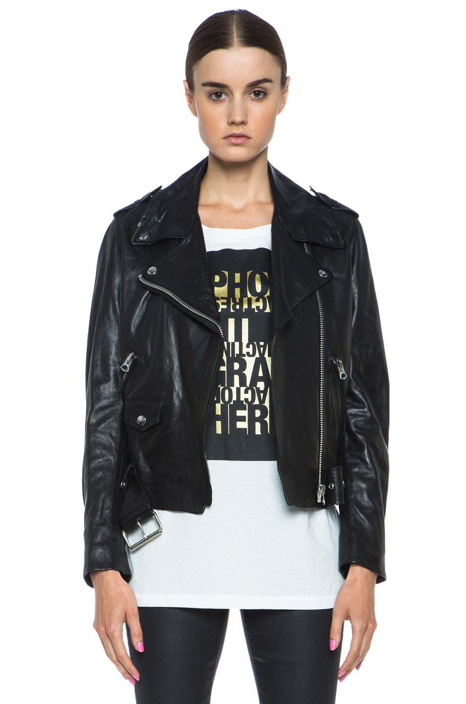 Image 1 of Acne Studios Mape Lambskin Moto Jacket in Black