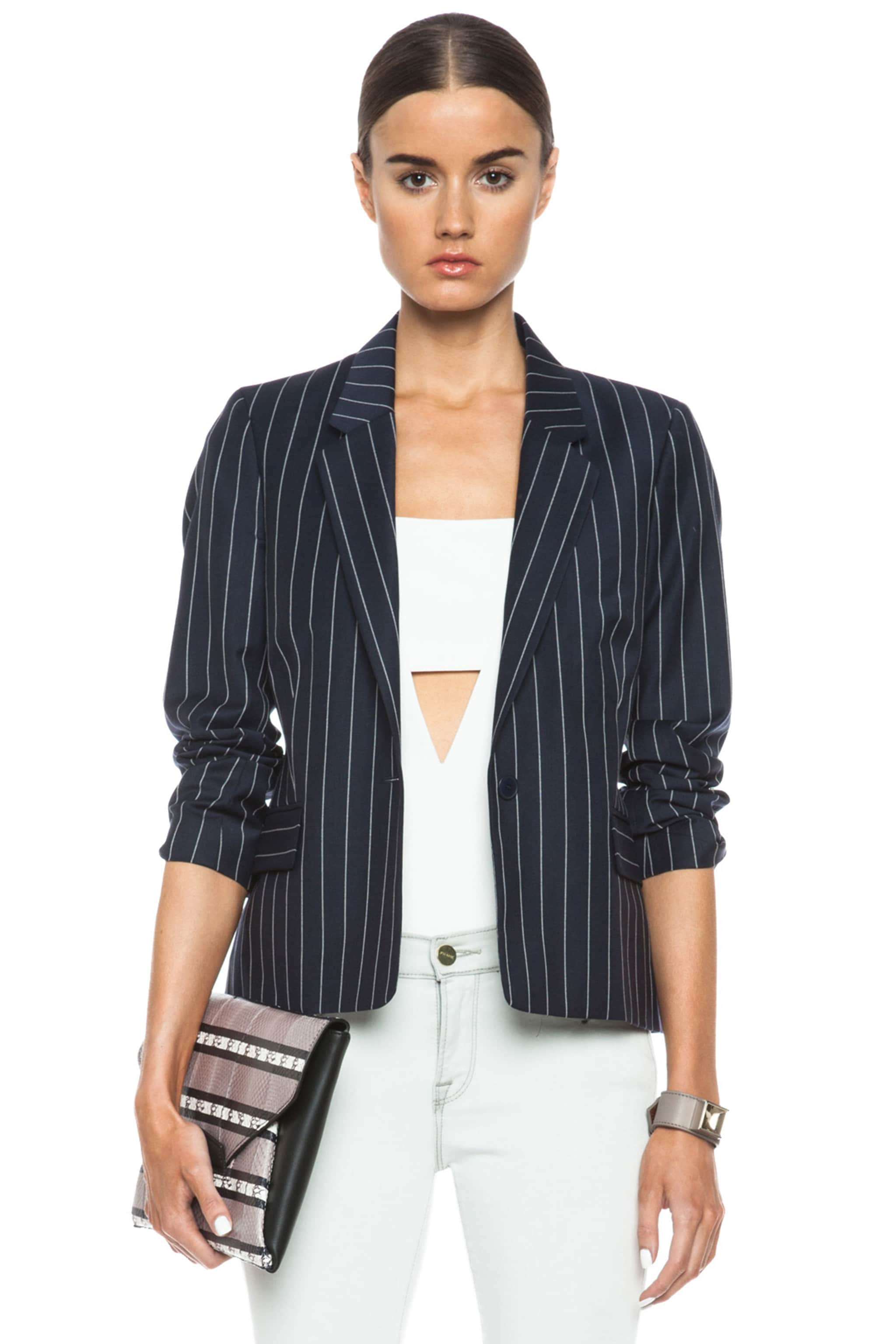 Image 1 of Acne Studios Cali Pinstripe Wool-Blend Jacket in Navy
