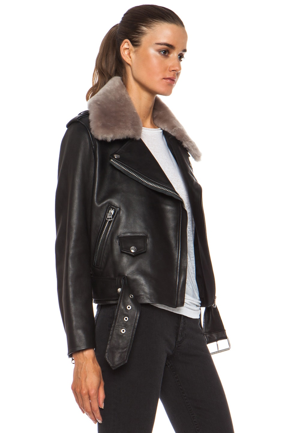 In Shearling Mape Studios Acne Black Stone amp; Fwrd Jacket Leather wxCXEEqTZ