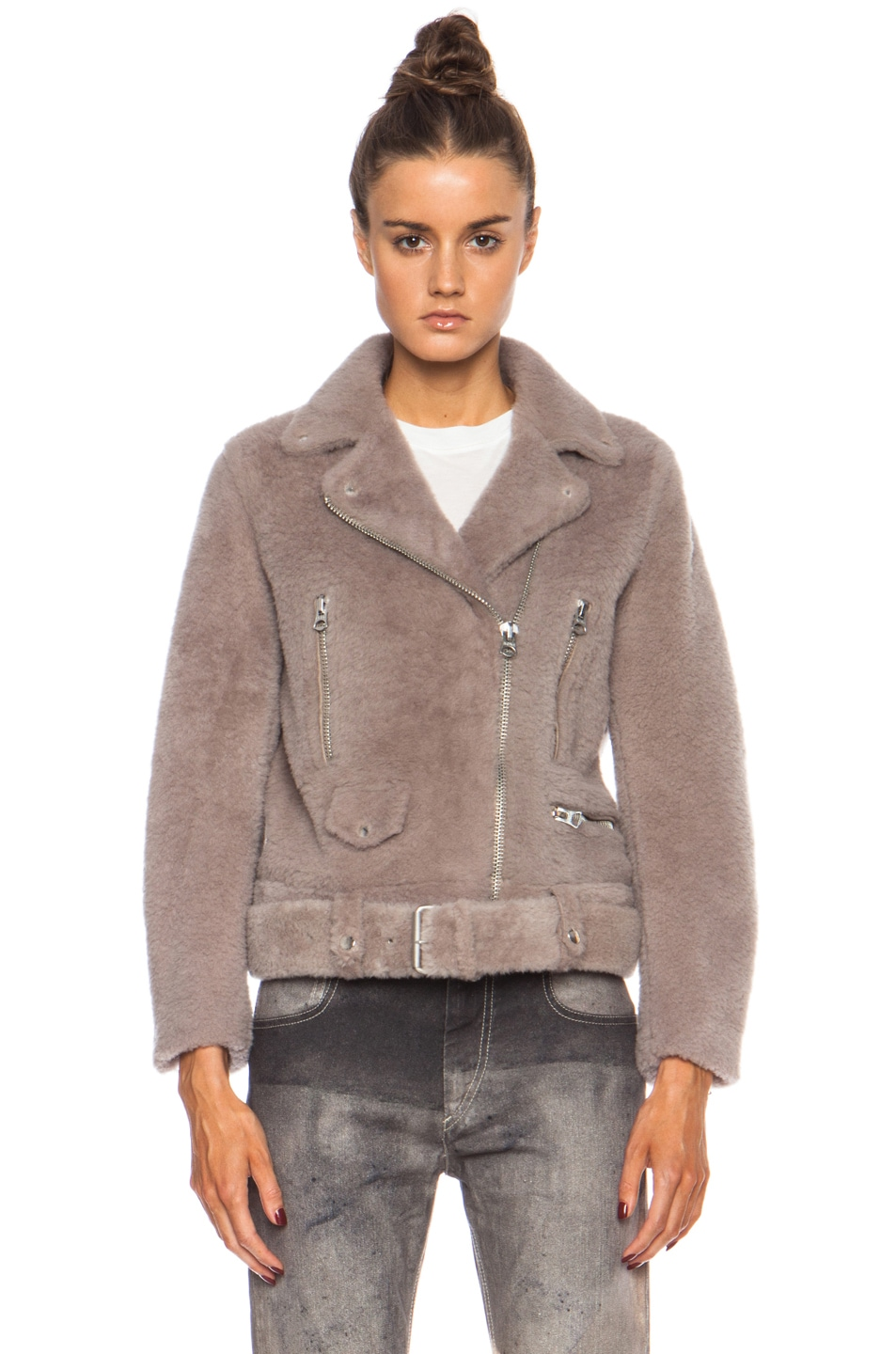 Image 2 of Acne Studios Mock Felted Jacket in Stone