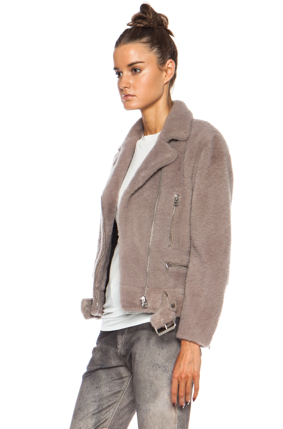 Image 3 of Acne Studios Mock Felted Jacket in Stone
