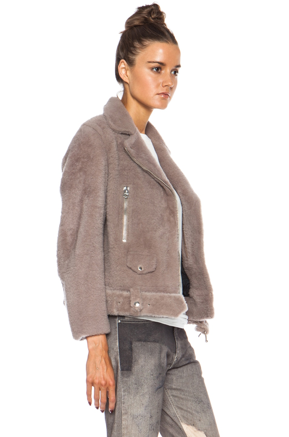 Image 4 of Acne Studios Mock Felted Jacket in Stone
