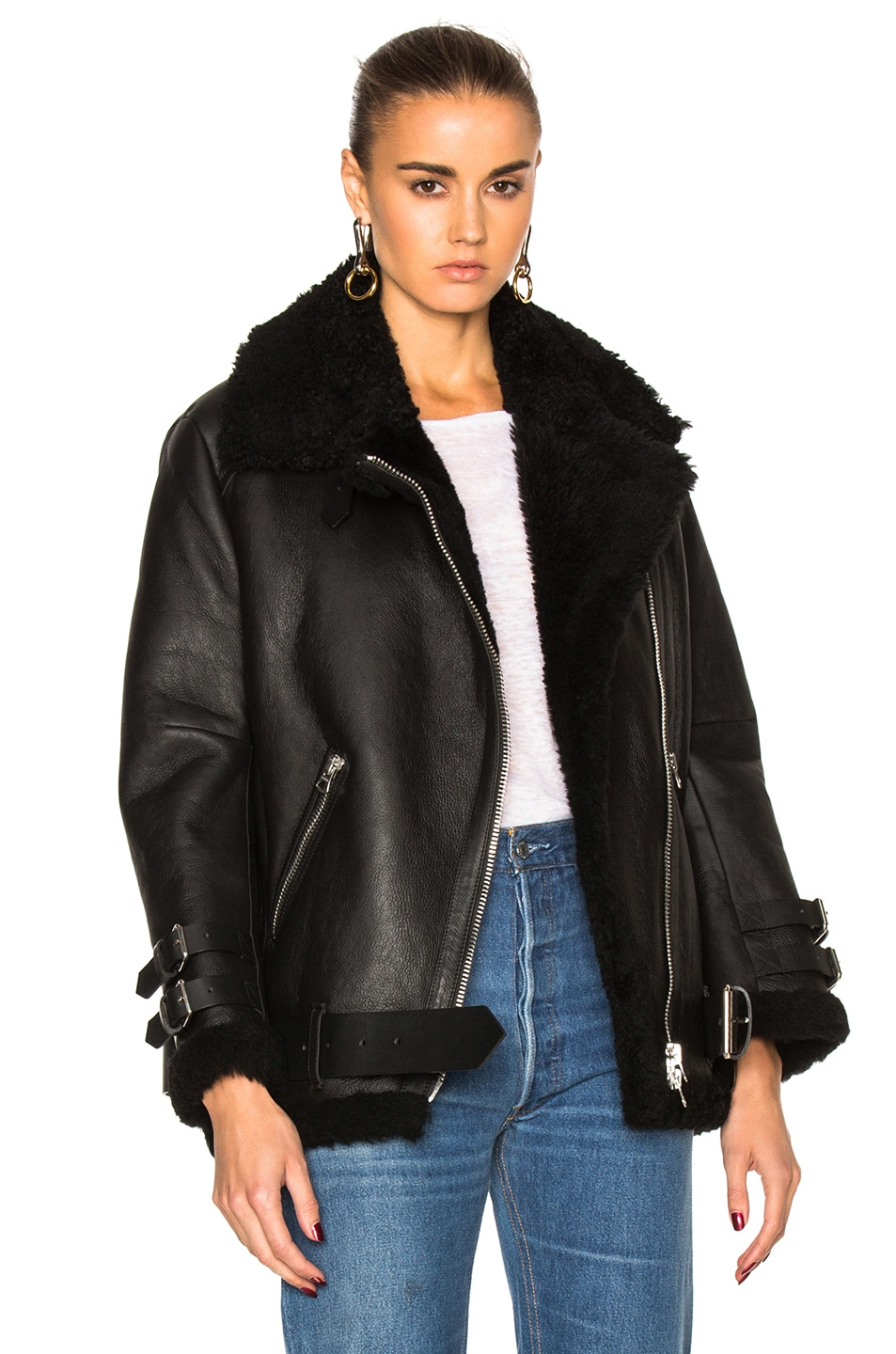 Velocite Shearling-Trimmed Leather Biker Jacket, Black