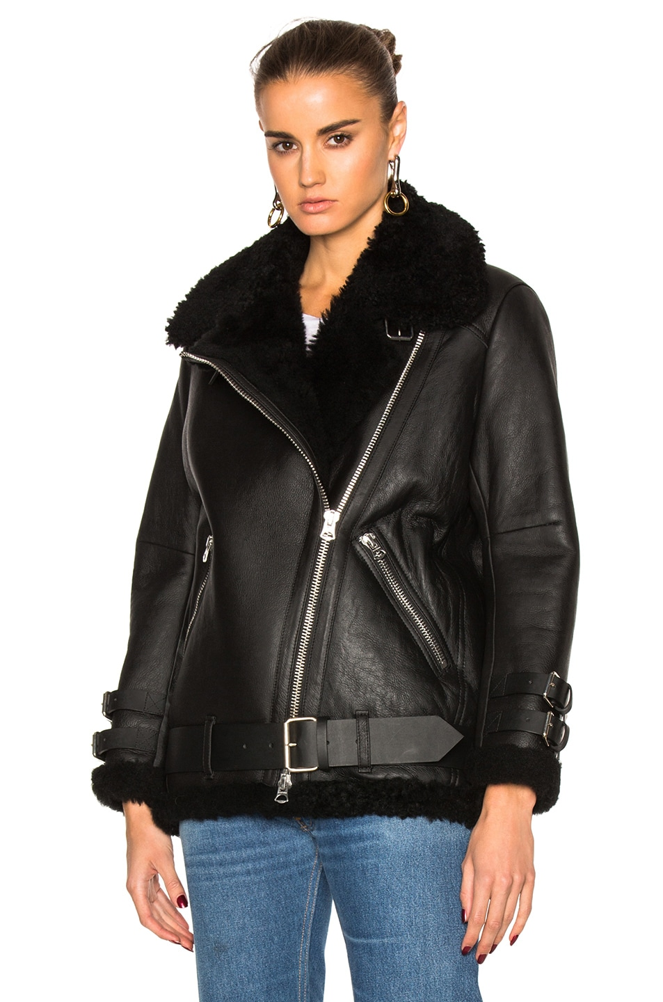 Image 2 of Acne Studios Velocite Leather Jacket in Black