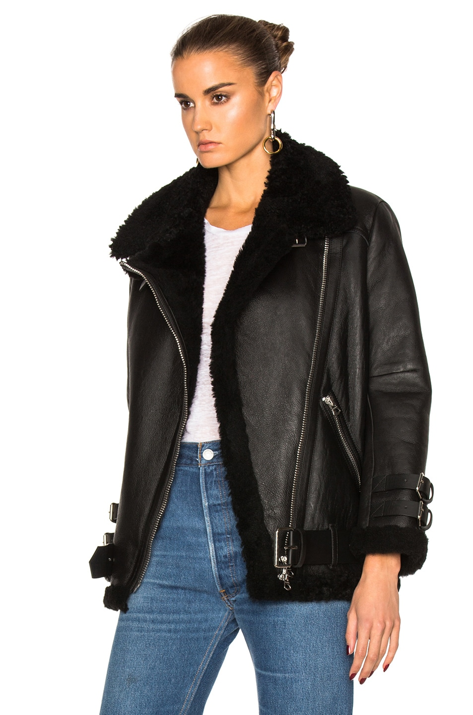 Image 3 of Acne Studios Velocite Leather Jacket in Black