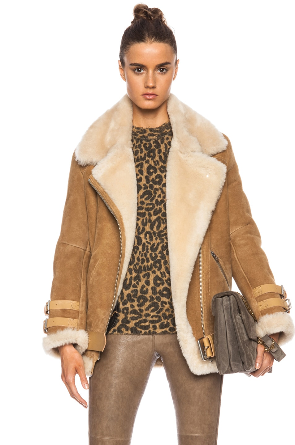Image 1 of Acne Studios Velocite Shearling Jacket in Ochre Yellow