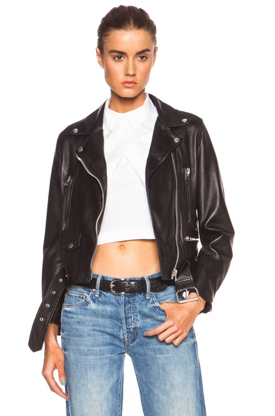 Acne Studios Mock Light Leather Jacket in Black | FWRD