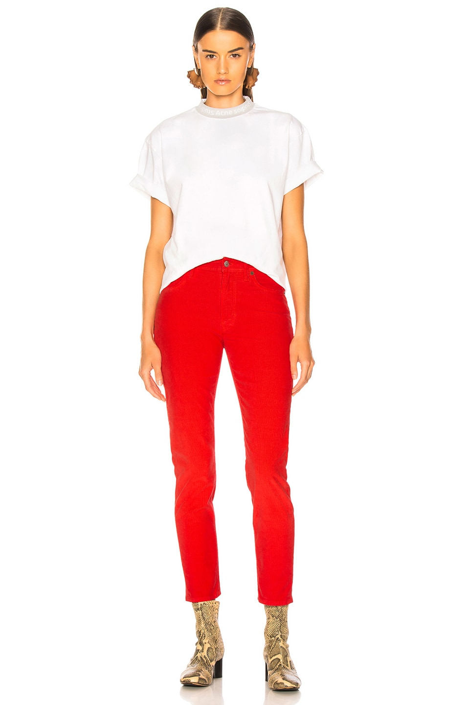 Image 4 of Acne Studios x Bla Konst Mel Corduroy Pant in Red
