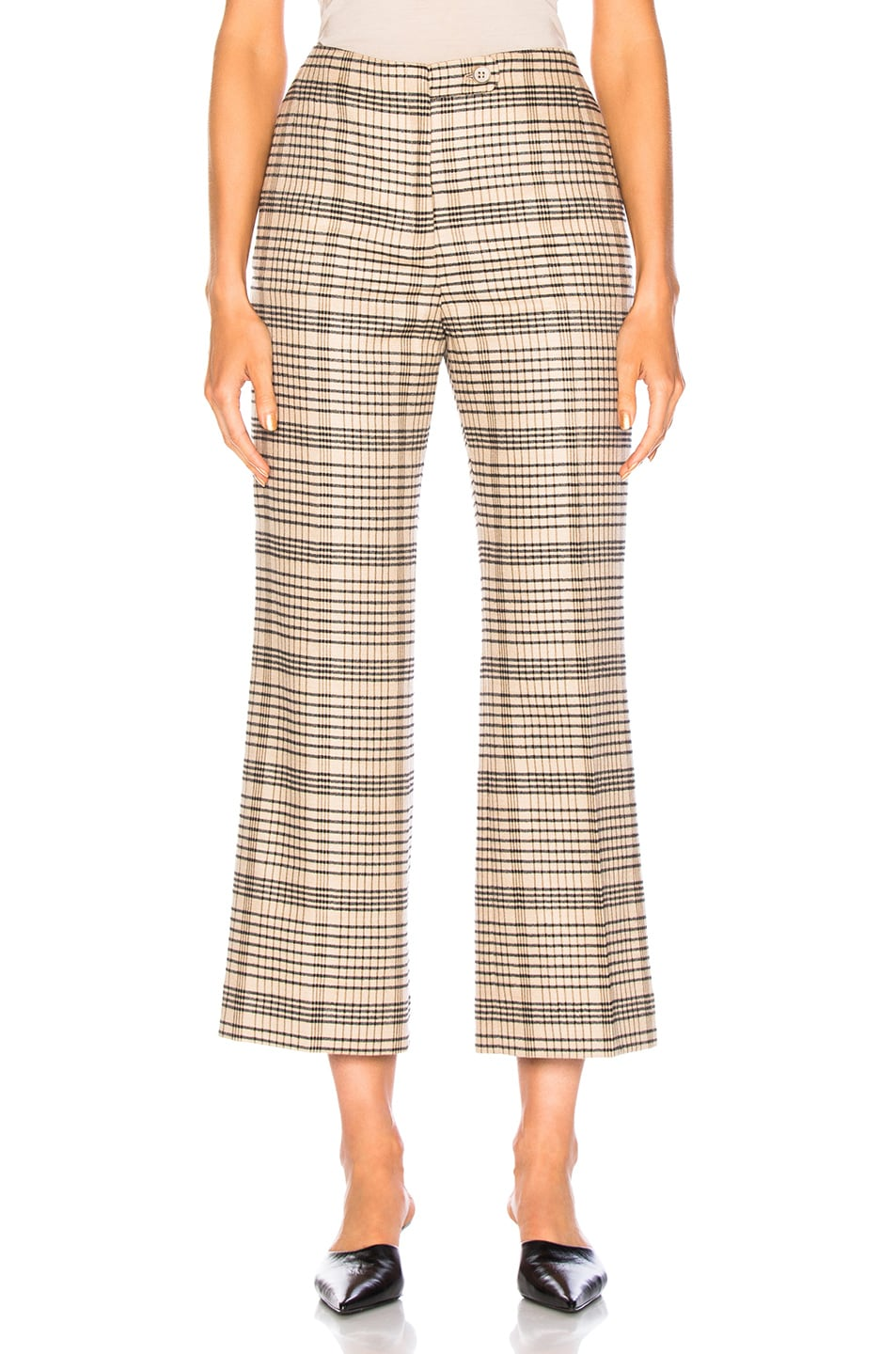 Image 1 of Acne Studios Cropped Trouser in Beige & Black