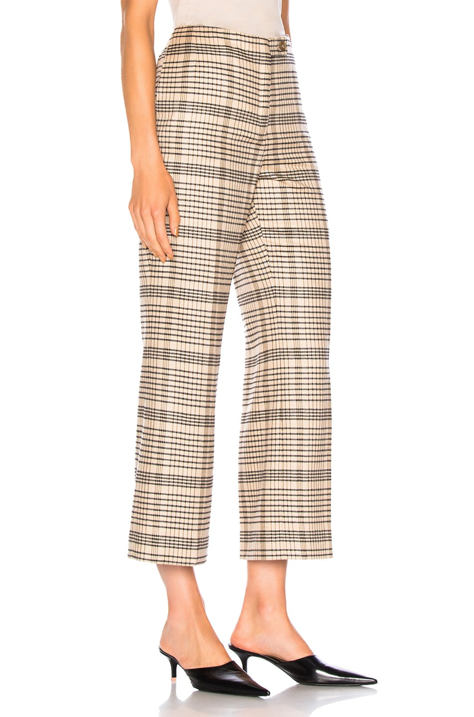 Image 2 of Acne Studios Cropped Trouser in Beige & Black