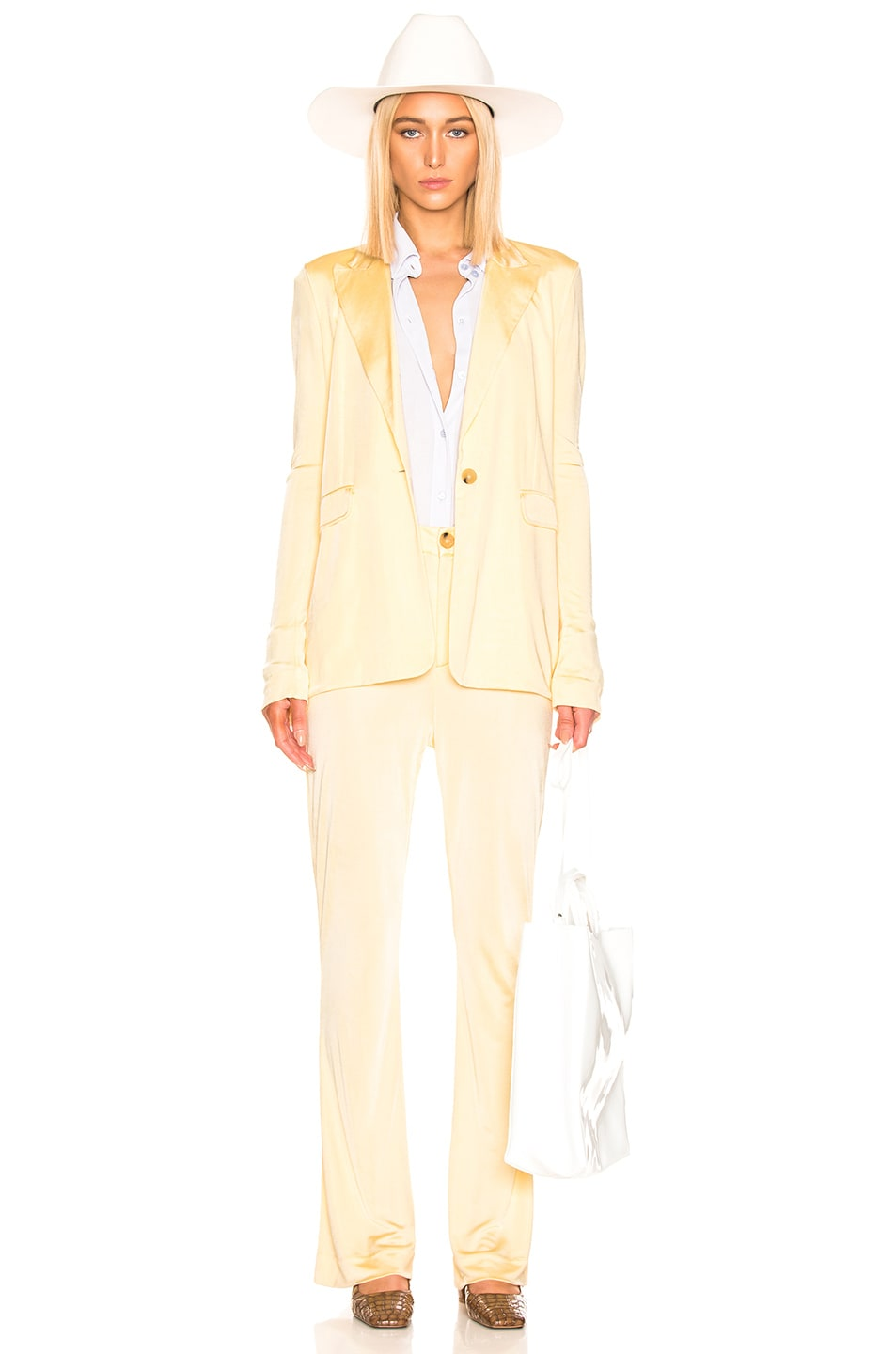 Image 4 of Acne Studios Prissa Trouser Pant in Vanilla Yellow