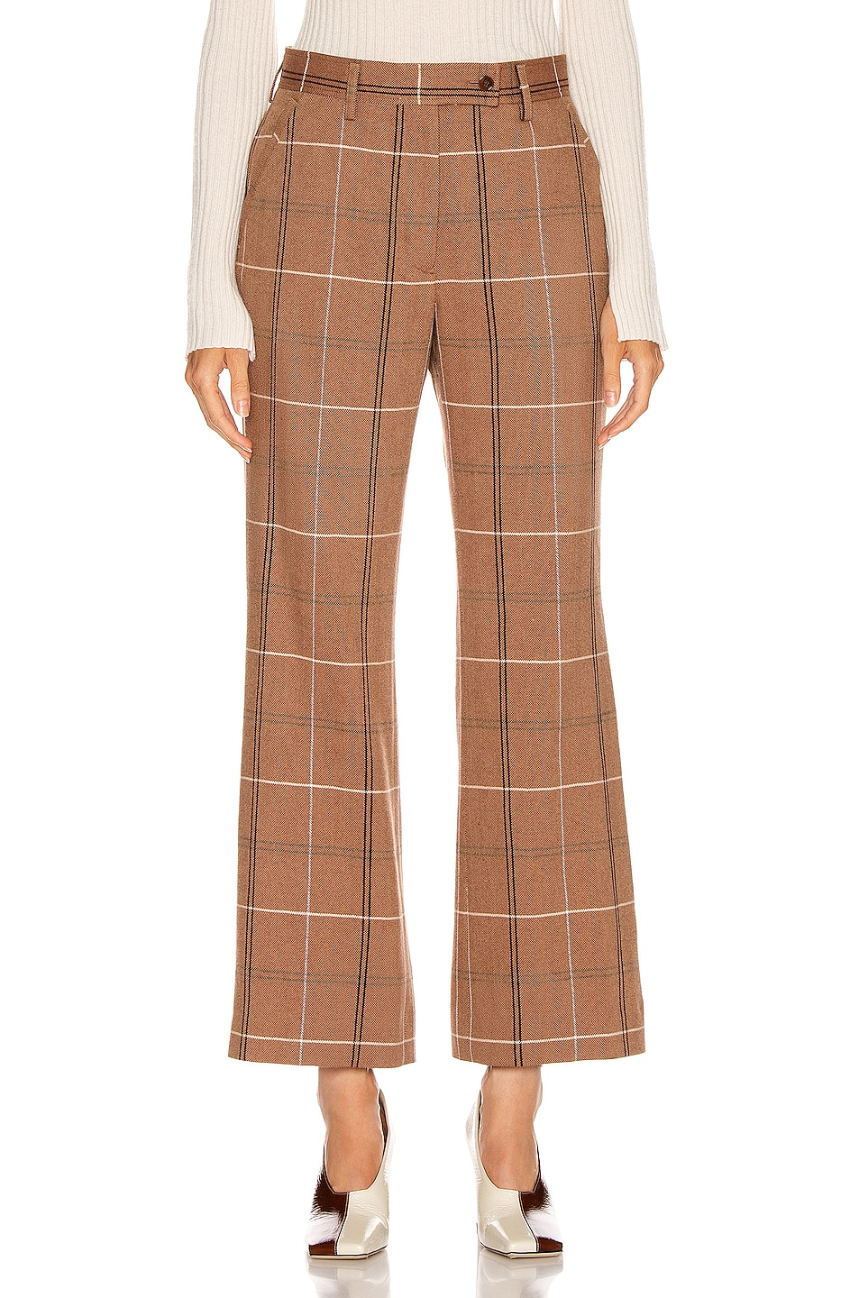 Image 1 of Acne Studios Patsyne Trouser in Brown & White