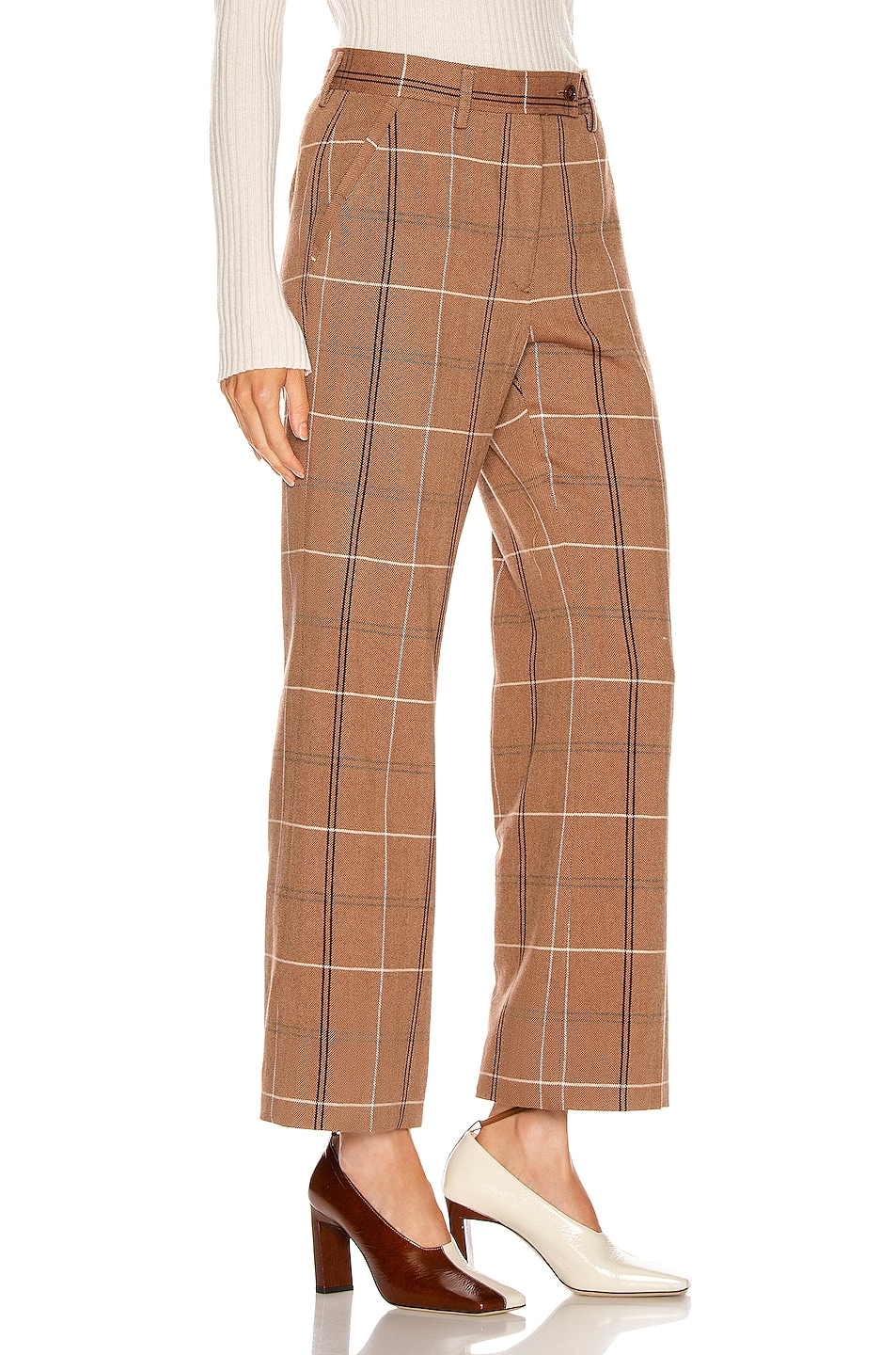 Image 2 of Acne Studios Patsyne Trouser in Brown & White