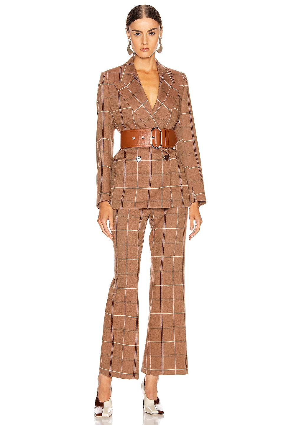 Image 4 of Acne Studios Patsyne Trouser in Brown & White