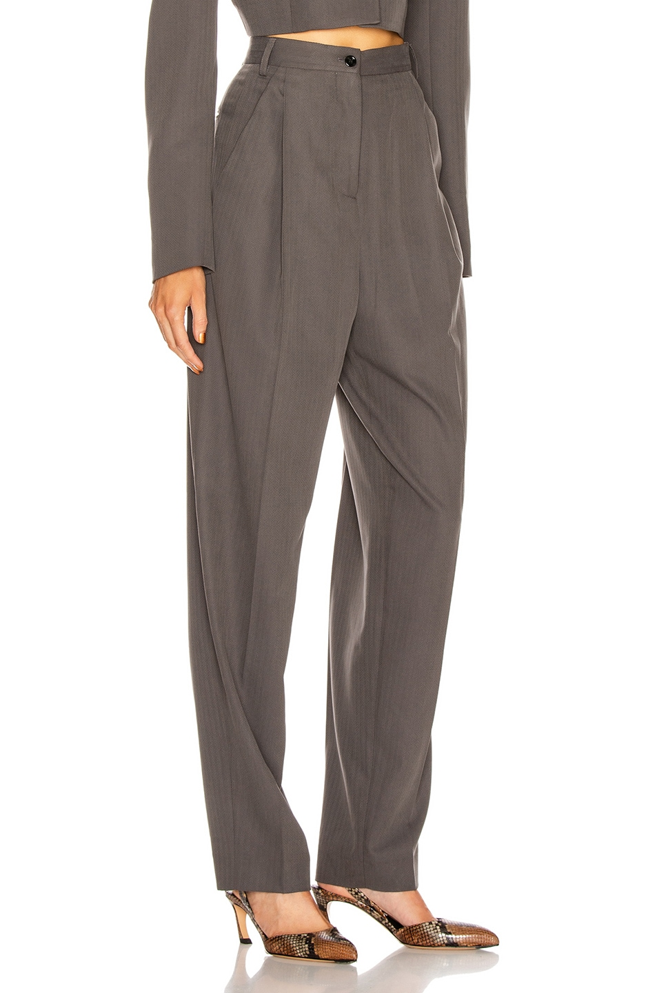 Image 2 of Acne Studios Peggerine Trouser in Charcoal Grey