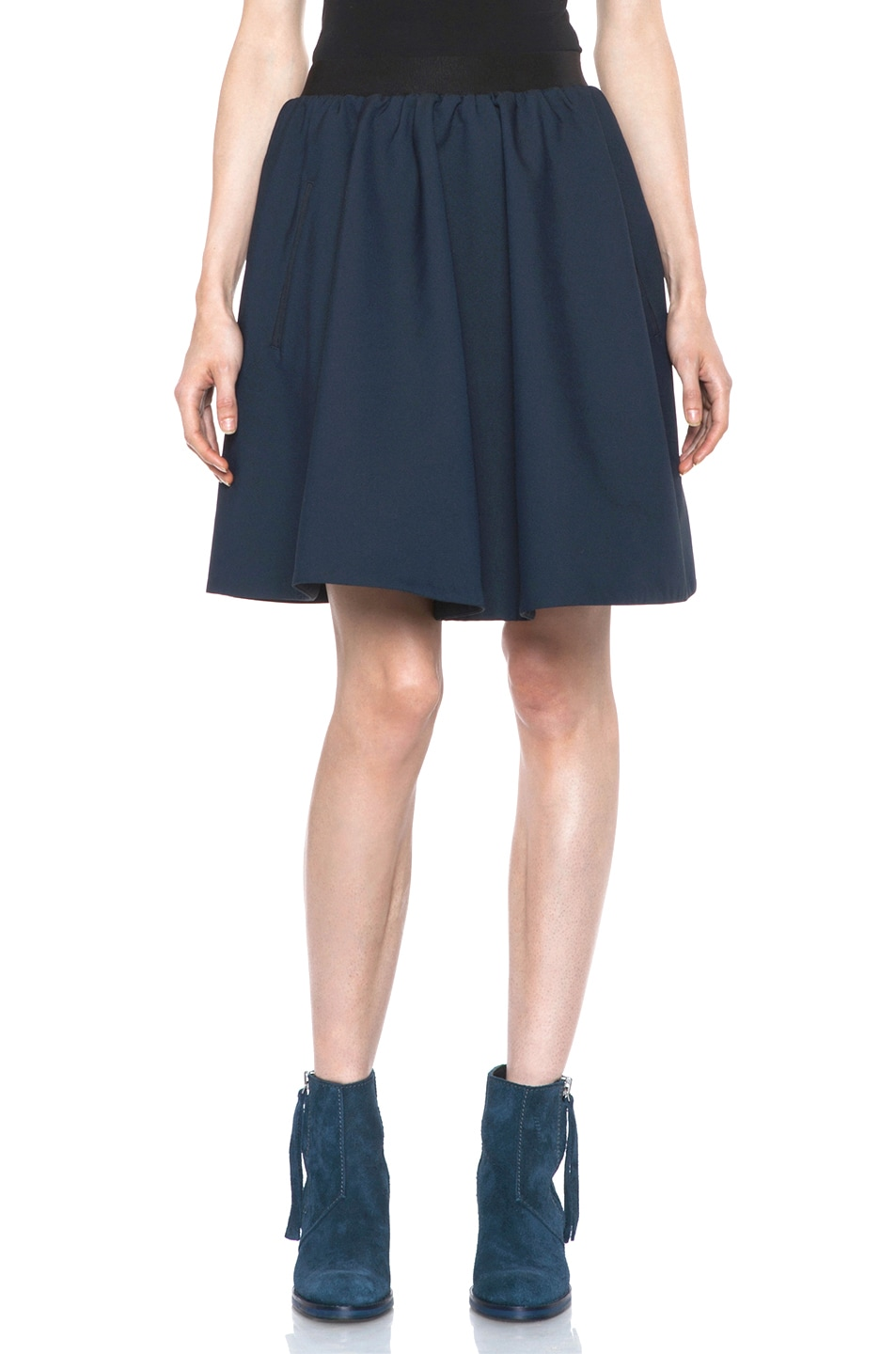 Image 1 of Acne Studios Romantic Nylon Skirt in Midnight Blue