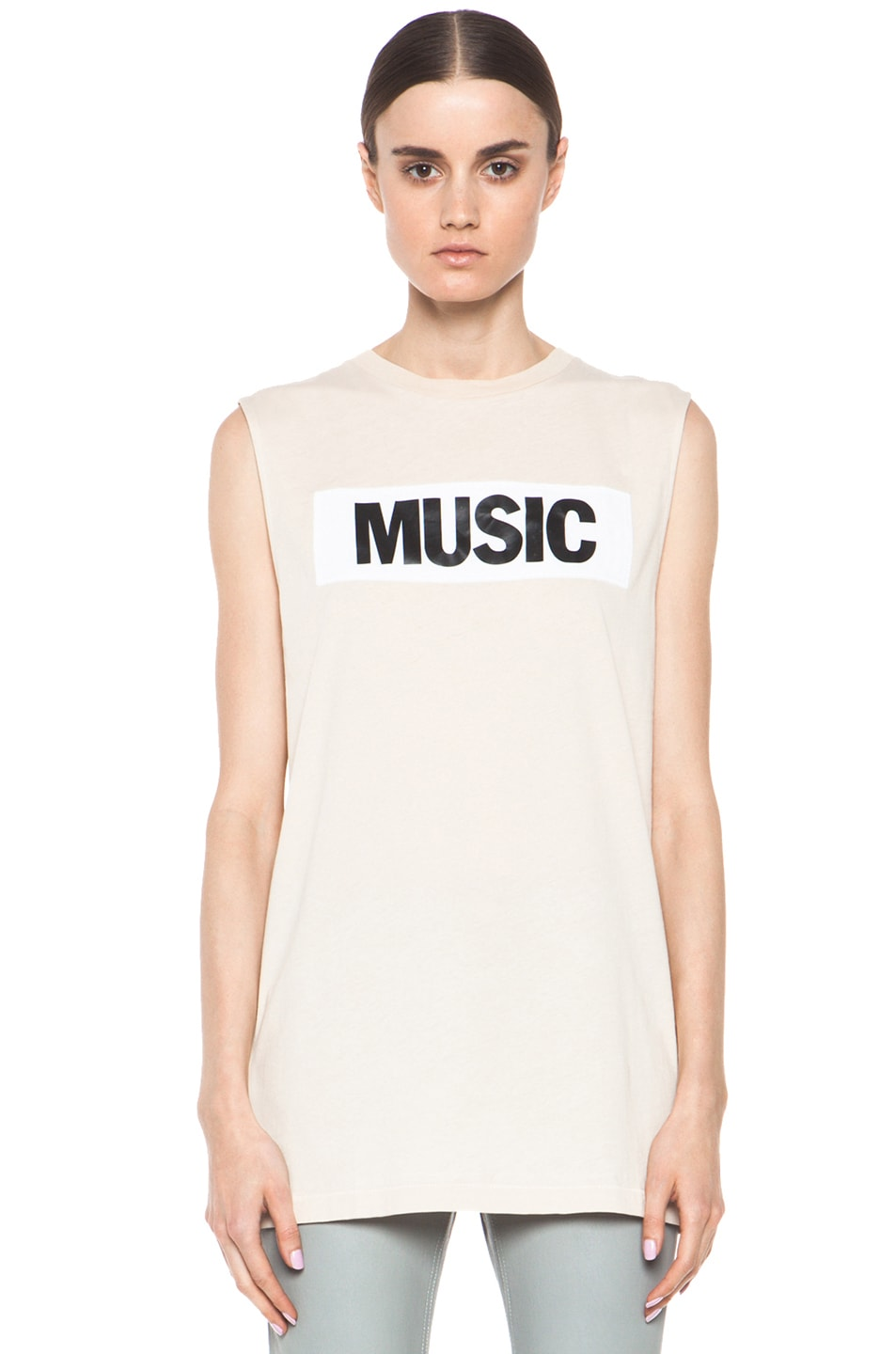 Image 1 of Acne Studios Zone Music Sleeveless Tee in Beige