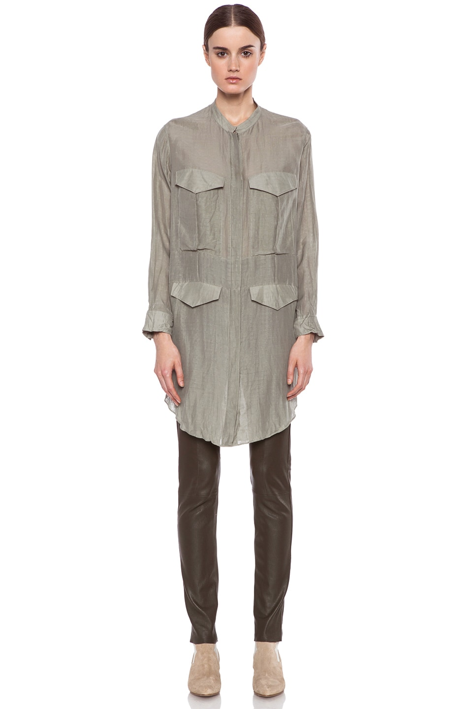 Image 1 of Acne Studios Stormy Silk-Blend Blouse in Moss Green
