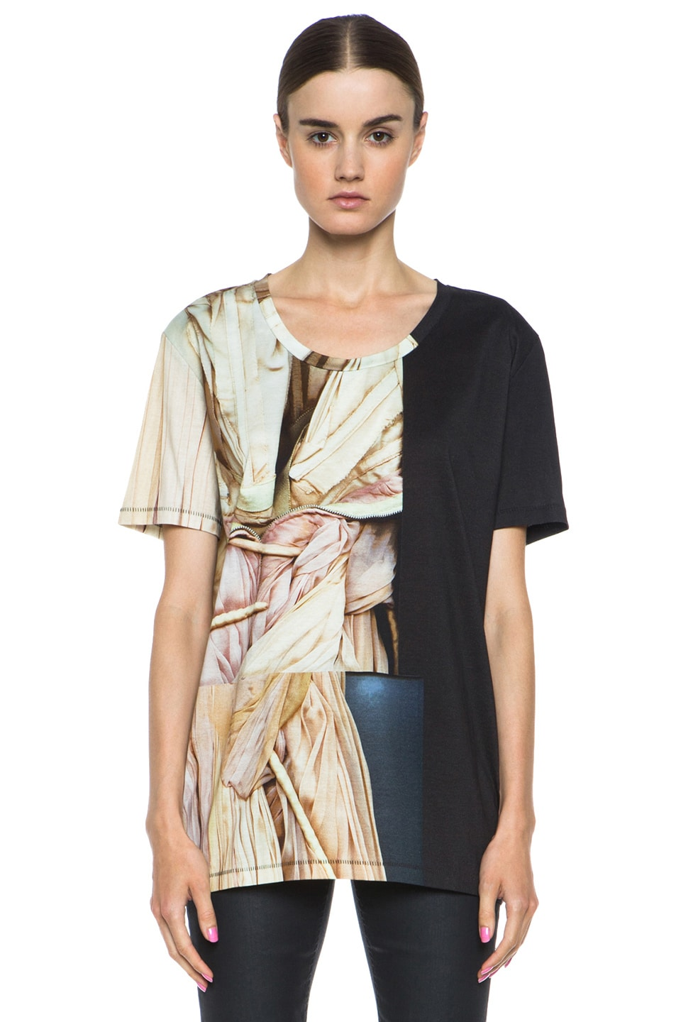 Image 1 of Acne Studios Zone Merc Print Cotton Tee in Pink Dress Off Black