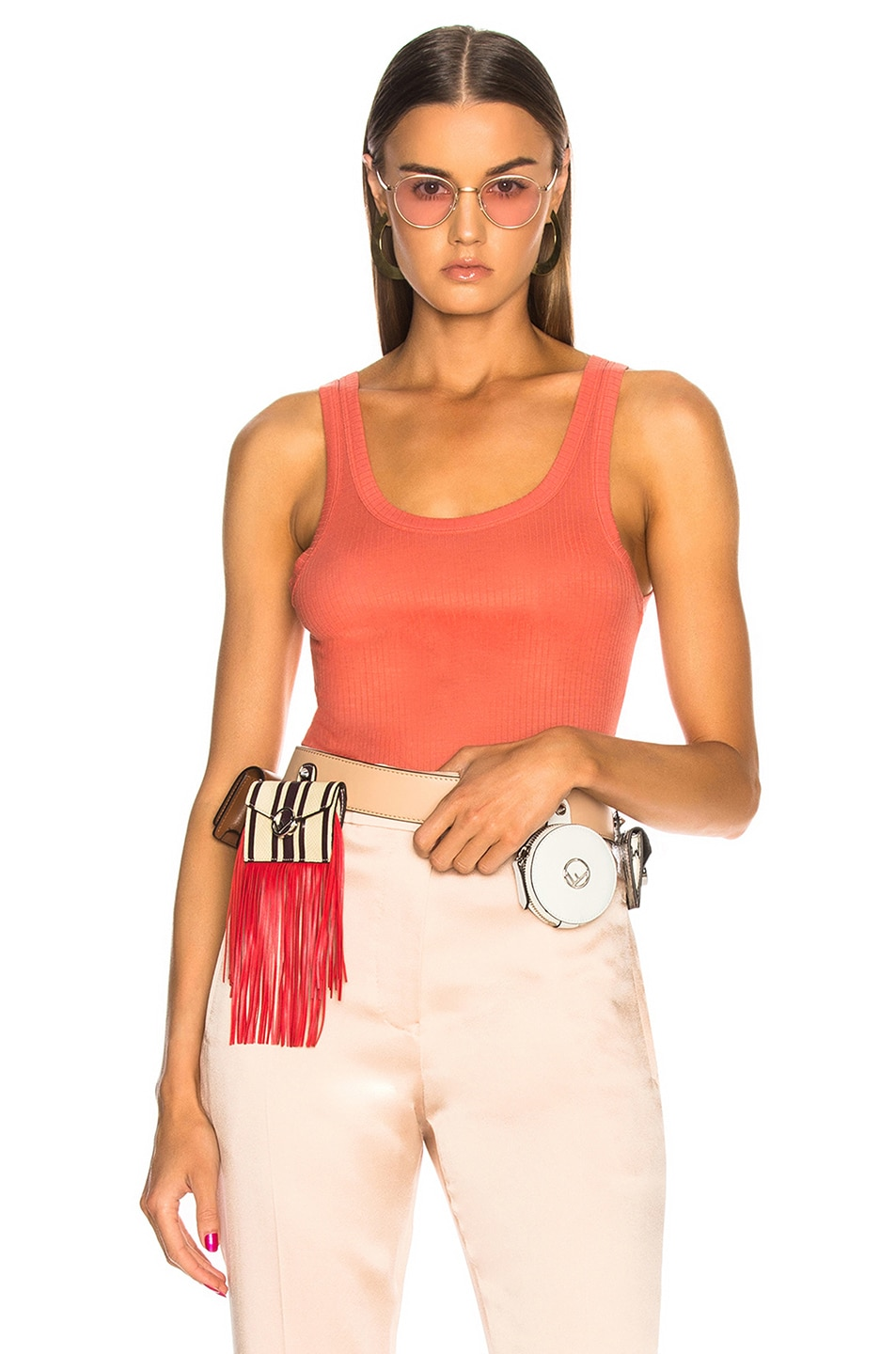 Image 1 of Acne Studios Tymes Tank Top in Coral Orange