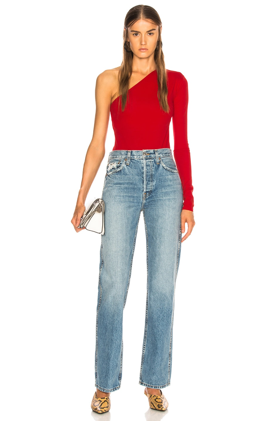 Image 6 of Acne Studios One Shoulder Bodysuit in Sharp Red