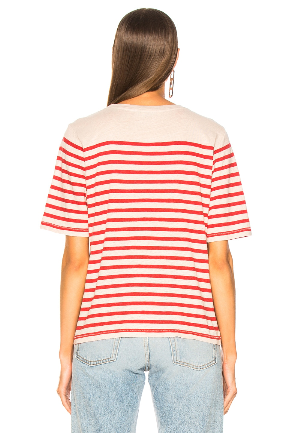 Image 4 of Acne Studios Striped Top in White & Red