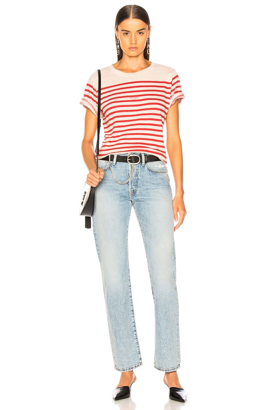 Image 5 of Acne Studios Striped Top in White & Red