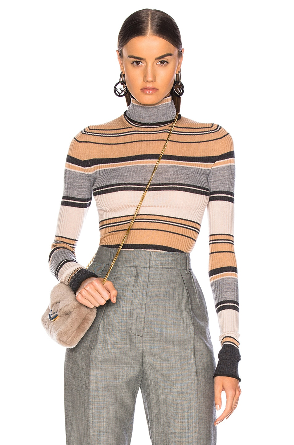 Image 1 of Acne Studios Striped Turtleneck Knit Top in Camel & Grey
