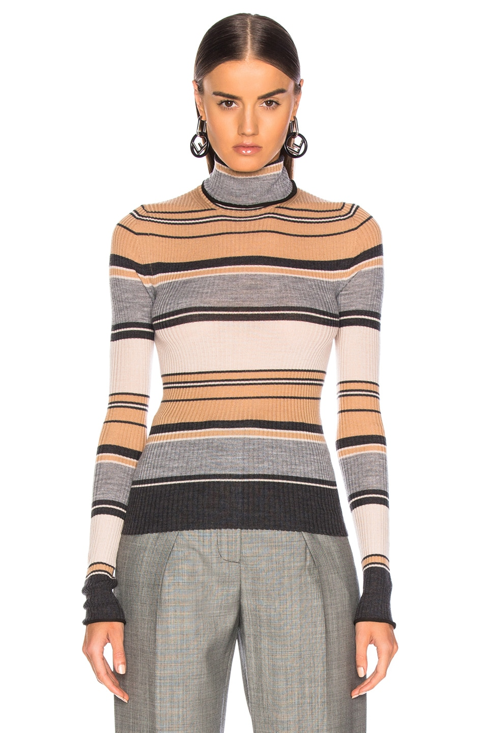 Image 2 of Acne Studios Striped Turtleneck Knit Top in Camel & Grey