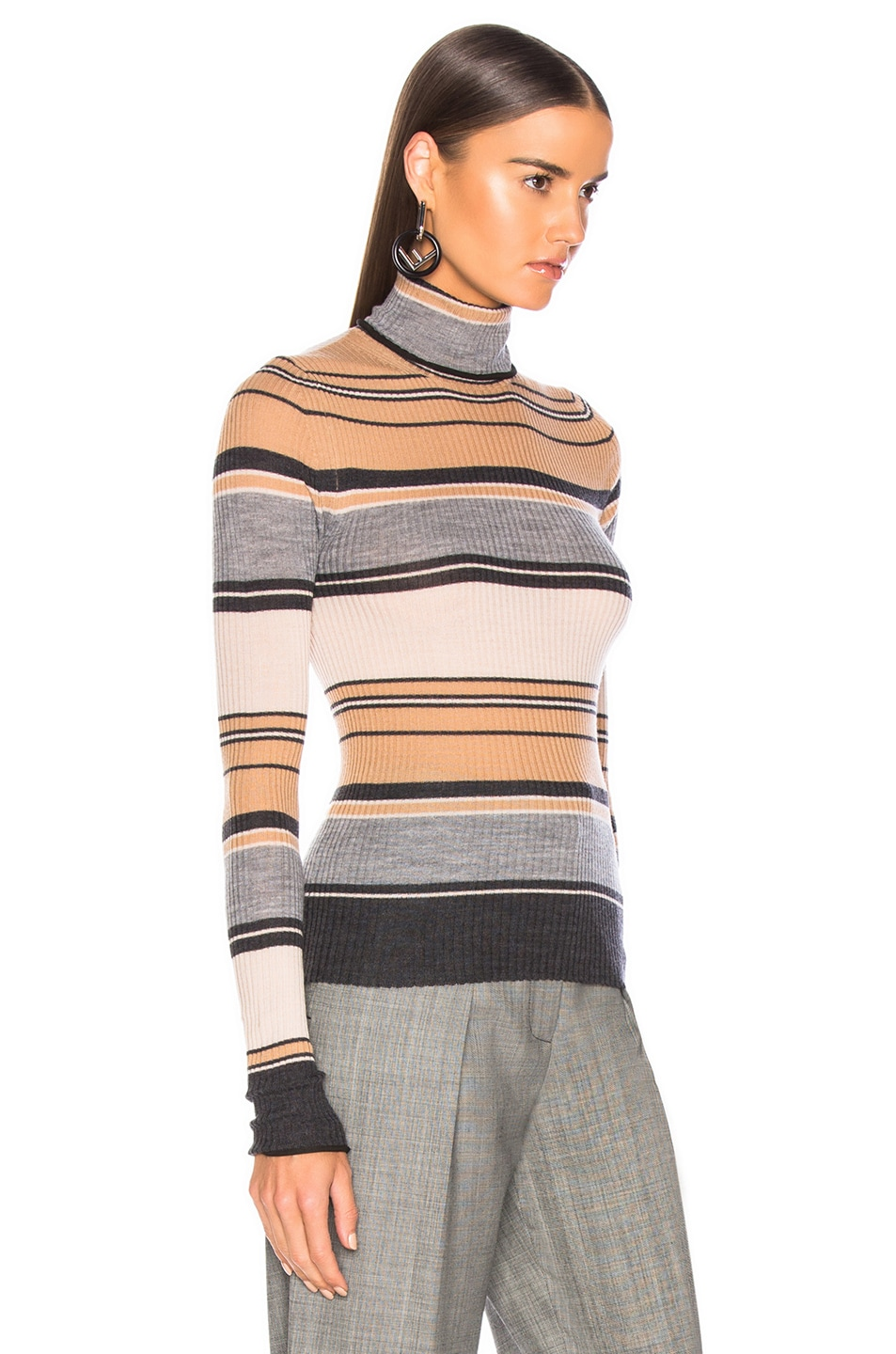 Image 3 of Acne Studios Striped Turtleneck Knit Top in Camel & Grey
