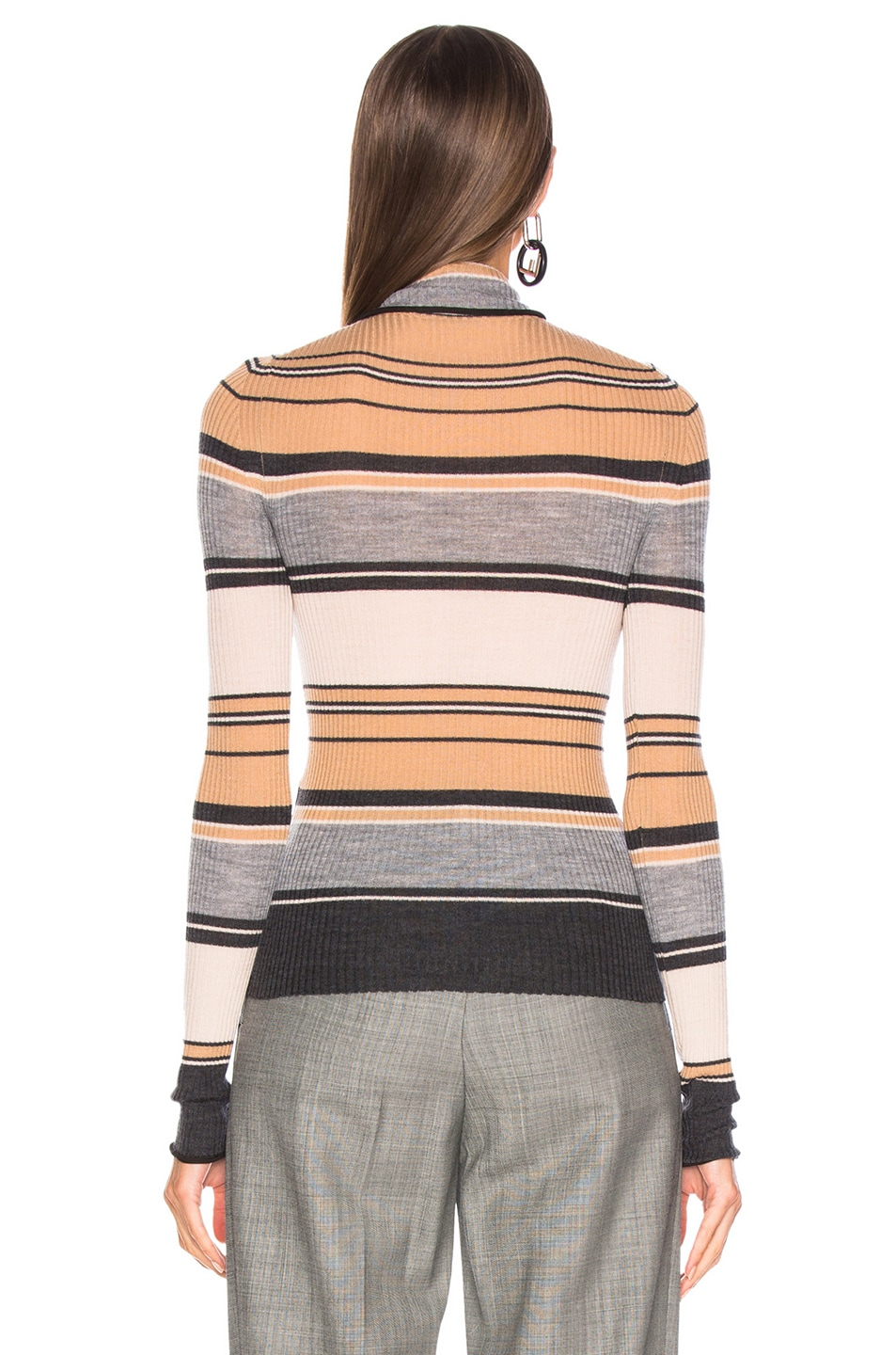 Image 4 of Acne Studios Striped Turtleneck Knit Top in Camel & Grey
