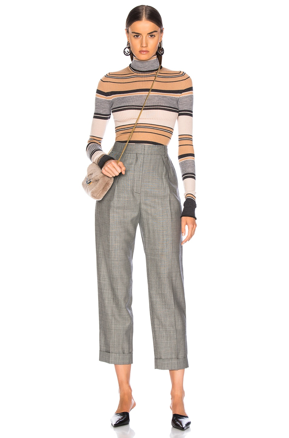 Image 5 of Acne Studios Striped Turtleneck Knit Top in Camel & Grey