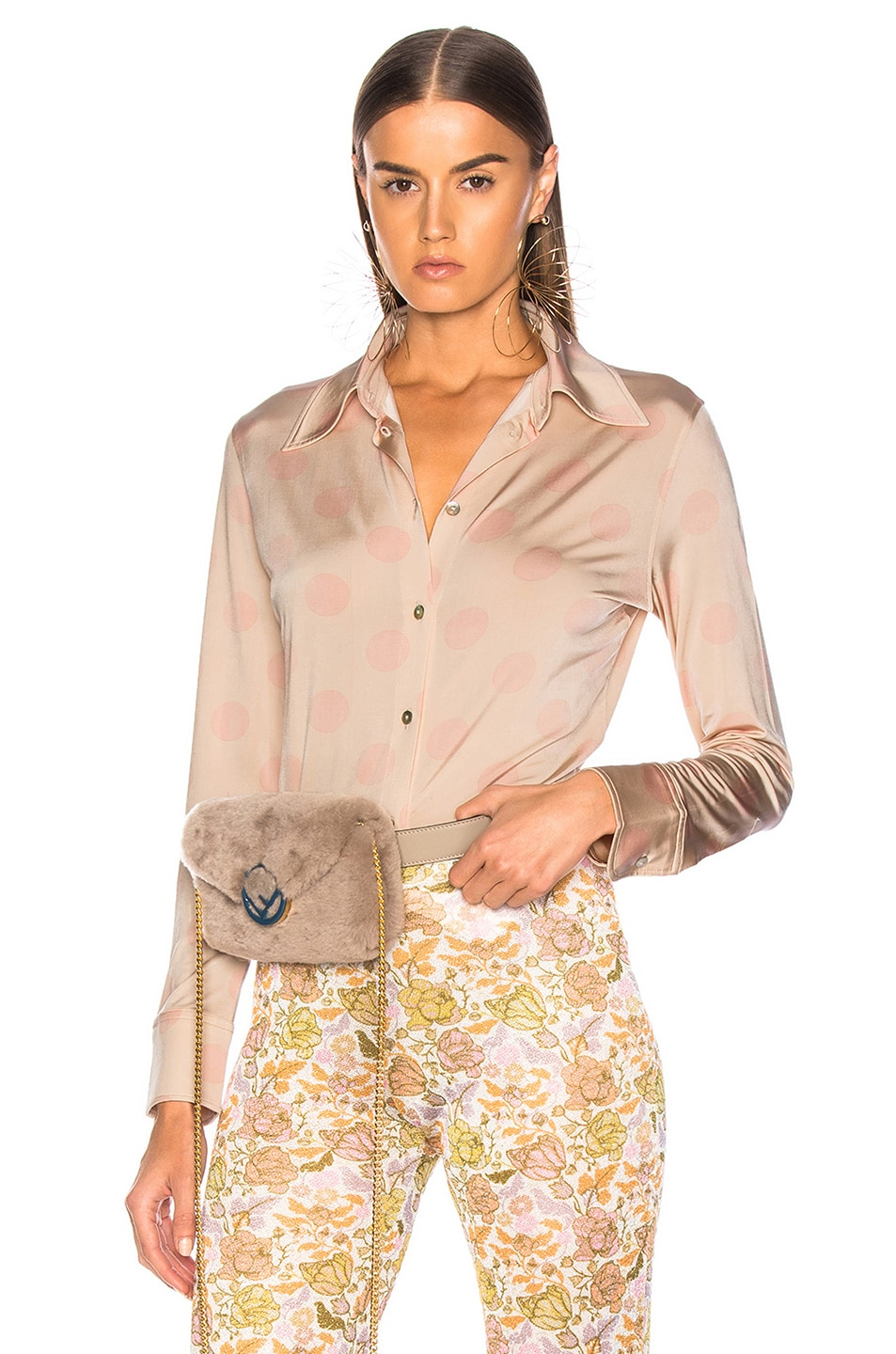 Image 1 of Acne Studios Polka Dot Blouse in Peach & Pink