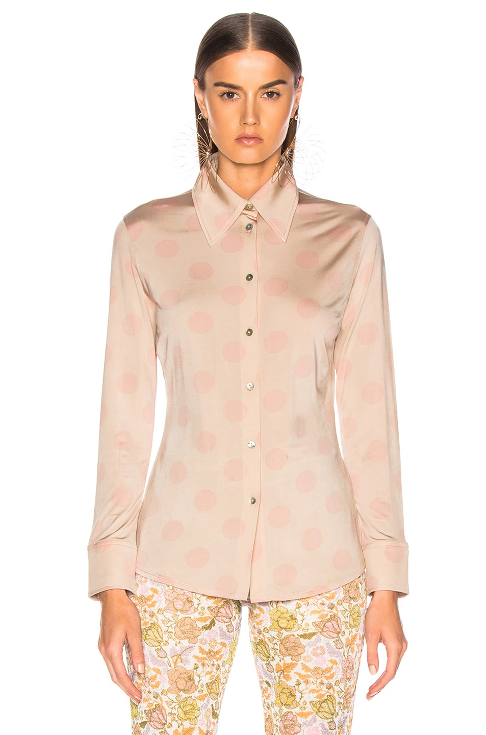 Image 2 of Acne Studios Polka Dot Blouse in Peach & Pink