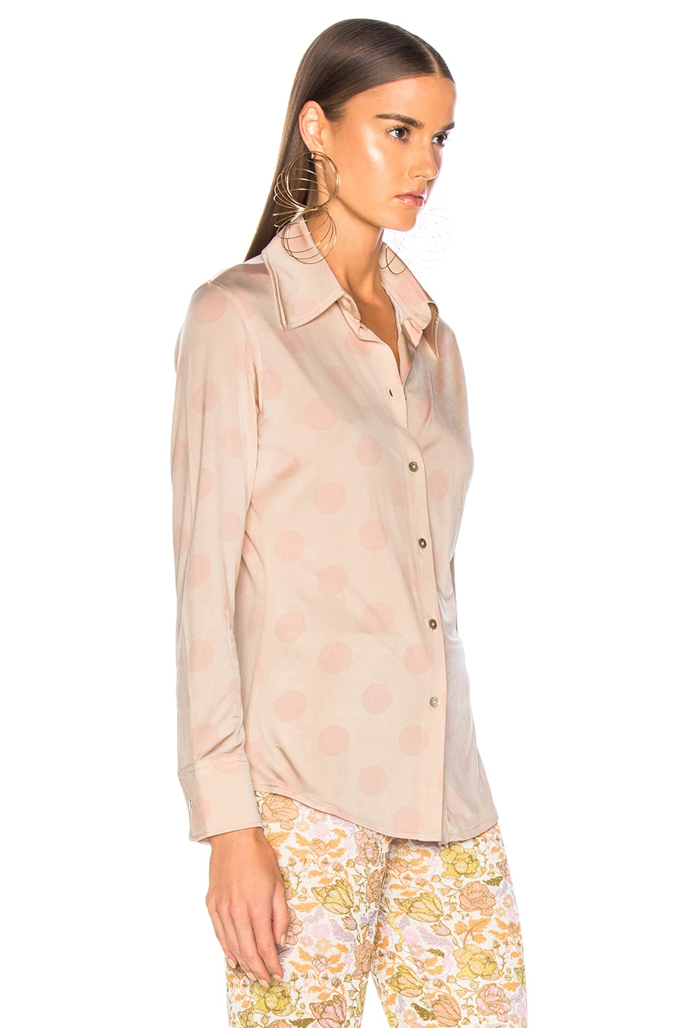 Image 3 of Acne Studios Polka Dot Blouse in Peach & Pink