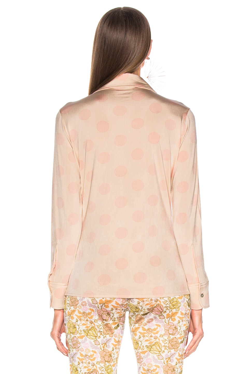 Image 4 of Acne Studios Polka Dot Blouse in Peach & Pink
