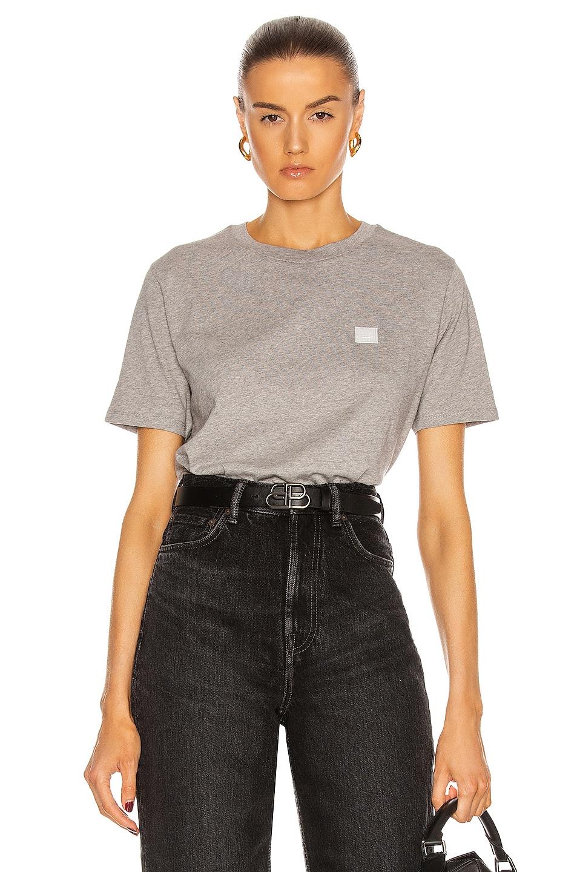 Image 1 of Acne Studios Face T Shirt in Light Grey Melange