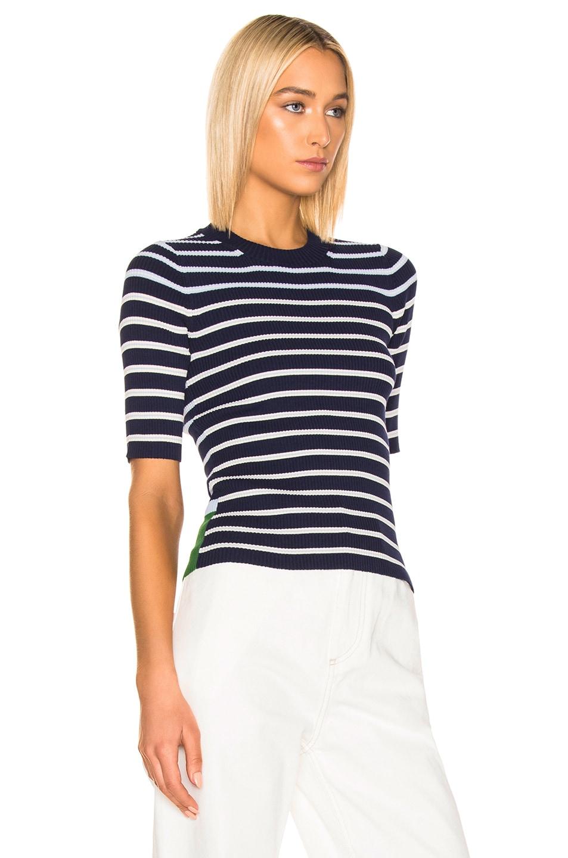 Image 2 of Acne Studios Kassandra Knit Top in Navy & White