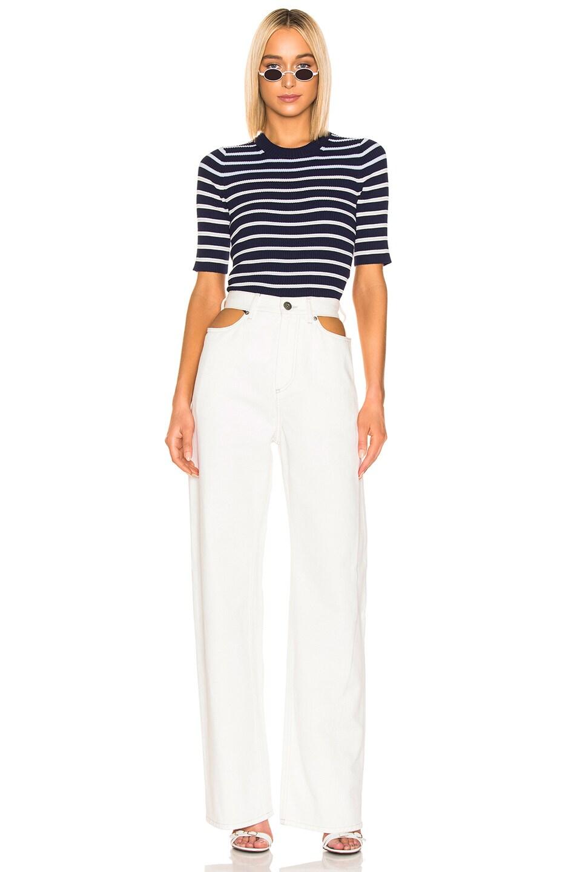 Image 4 of Acne Studios Kassandra Knit Top in Navy & White