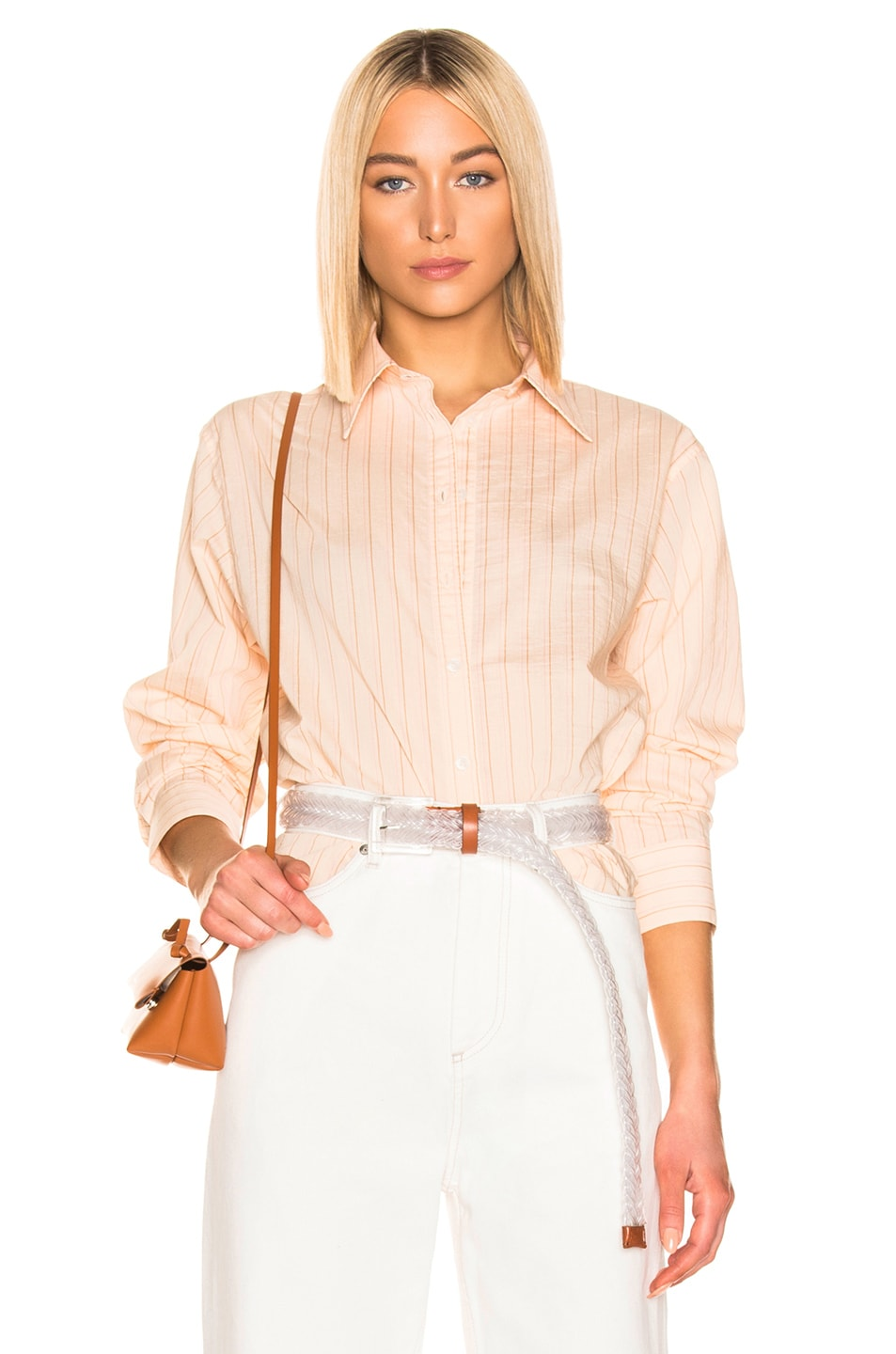 Image 1 of Acne Studios Selma Shirt in Beige & Pink